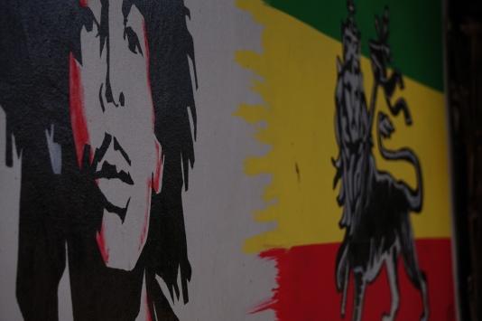Bob Marley vor dem Löwen von Judah